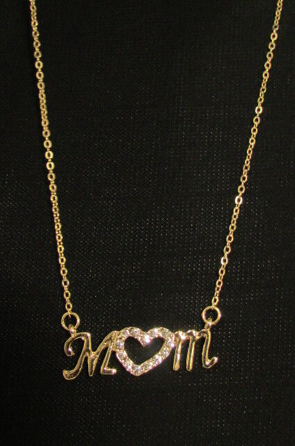 """New Women 15"""" Fashion Necklace Heart Love Mom Mother Day Rhinestones Gold Silver"""