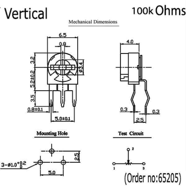 Potentiometer Preset 4.7K 4K7 Ohms Ceramic  AB  4pieces