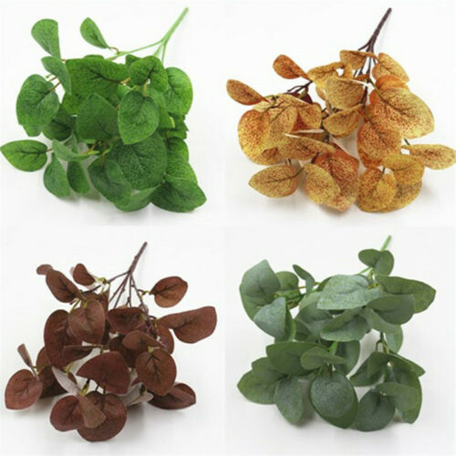 5 Fork New Artificial Fake Silk Flower Eucalyptus Green Leaves Home Plant Decor
