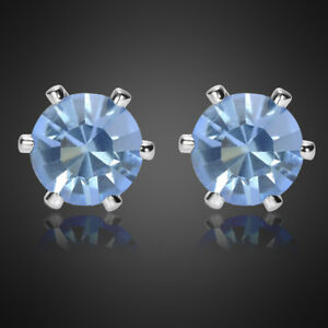 Fashion-Lady-Round-Cut-Tanzanite-18K-White-Gold-Plated-Gp-Stud-Earrings-Earings