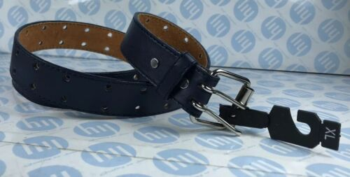 """Blue Genuine Leather Belt With Two Whole Strong Lock XL 32mm X 93cm Fit 25""""-35"""""""