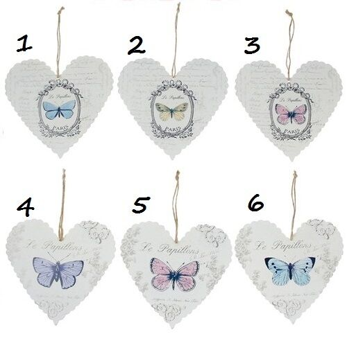 Le Papillon Metal Hanging Heart Paris Country Chic Nature FREE UK DELIVERY