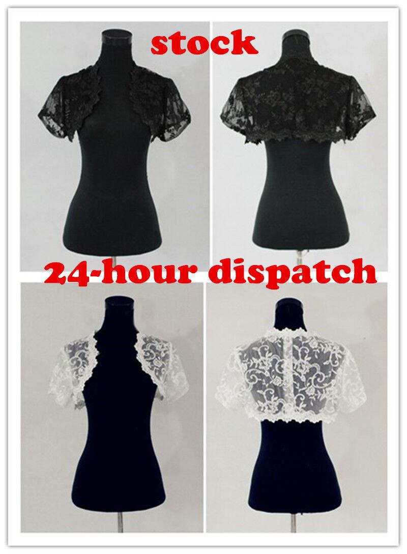 Ivory or White Lace /& Satin Bolero//Shrug//Jacket//Stole//Tippet//Wrap Wedding 3//4