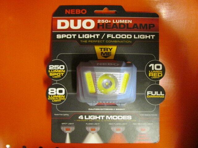 2pk 250+ Lumen NEBO Duo Headlamp Spot Light Flood  Light 4 Light Modes Red White  online shopping sports