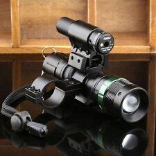 Tactical 2000LM CREE LED Zoom Flashlight + Red Laser Sight +Scope Barrel Mount