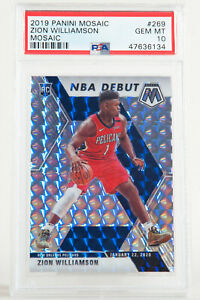 2019-Panini-Mosaic-Prizm-Zion-Williamson-Pelicans-Rookie-NBA-Debut-RC-269-PSA-10