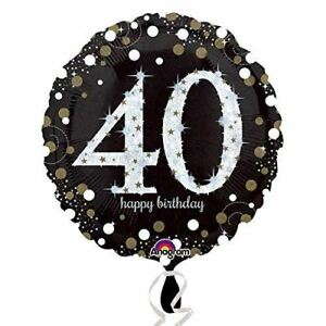 Image Is Loading Black Amp Gold Celebration 40th Birthday Foil Balloon