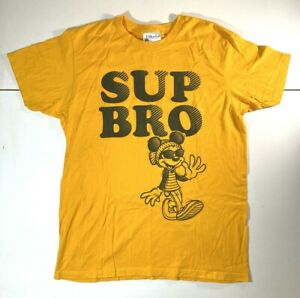 Disney-Parks-Mickey-Mouse-Hipster-Sup-Bro-Yellow-T-Shirt-MEDIUM