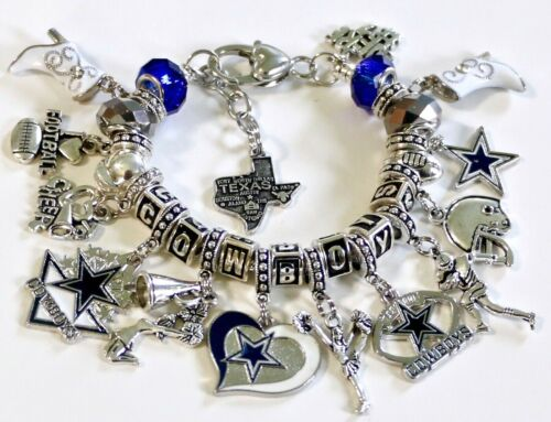 "DALLAS COWBOYS NFL HANDMADE FOOTBALL CHARM BRACELET 7 1//2/"" 1 1//2/"" Extender"
