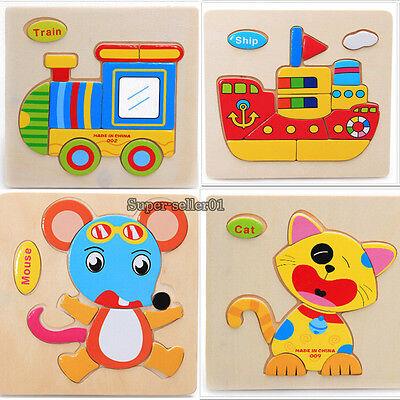 1pc Hot Wooden Blocks Animals Kid Children Baby Educational Toy Puzzle Cartoon