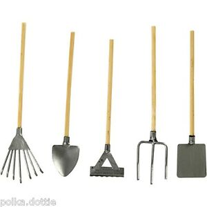 Mini garden tools set of 5 dolls house garden tools craft for Garden house for tools