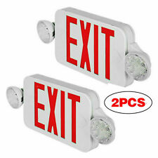 Led Exit Sign Amp Emergency Light Dual Led Compact Combo Fire Safety 2 Pack Red