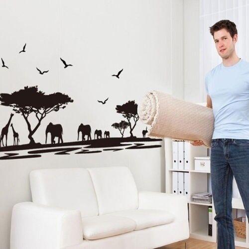 Hot African Safari Themed Wall Sticker Jungle Animal Tree Mural Home Decor DL5