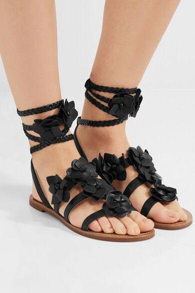 bc9b4a5e8 NIB Authentic TORY BURCH Blossom Gladiator Leather Sandal in Black Sz 7  295
