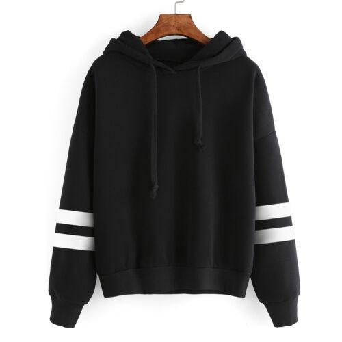 Women Fashion Striped Long Sleeve Hoodies Sweatshirt Baggy Pullover Tops Blouse