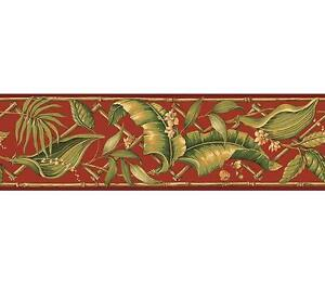 Wallpaper-Border-Green-Palm-Leaves-with-Bamboo-Trellis-on-Red