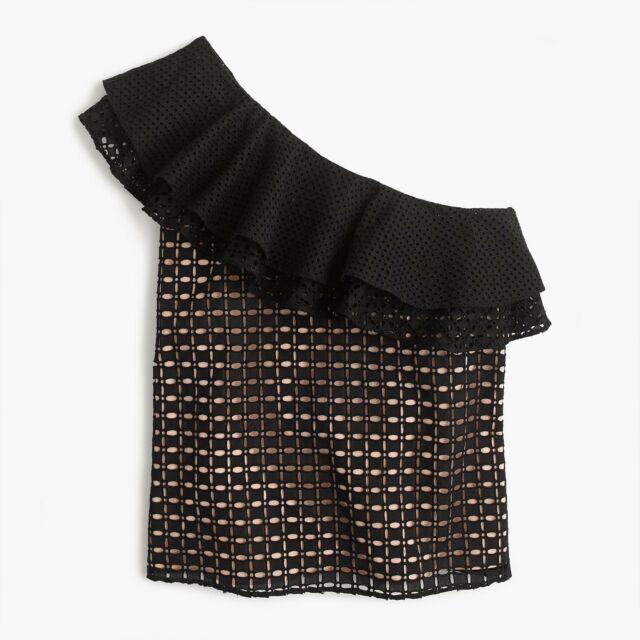 $98 J.CREW Size 2 One-shoulder Ruffle Top in Eyelet BLACK Style G3395