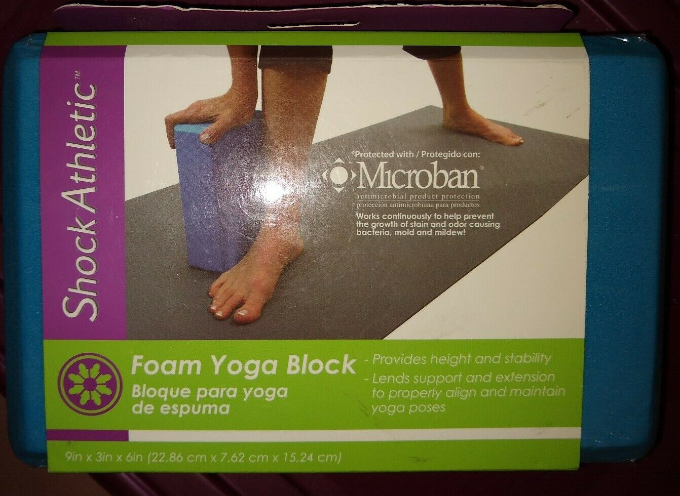 Venture SHOCK ATHLETIC FOAM YOGA BLOCK Antimicrobial 9″ x 6″ x 3″/Bloque Espuma