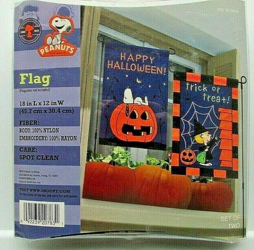 Snoopy Halloween Peanuts Garden Flag 18X12 Sally Set of 2 NIP