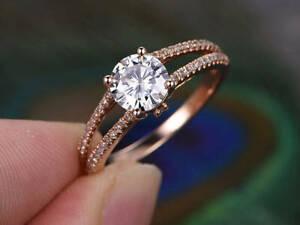 1.21 Ct Round Moissanite Engagement Wedding Ring Solid 18K Rose Gold ring Size 9