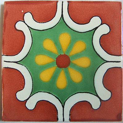 "C297 - Mexican Handmade Talavera Clay Tile Folk Art 4x4""  Handpainted"