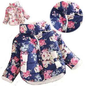 c9956e5b1 Cute Kids Baby Girls Toddler Fur Lined Coat Warm Floral Outwear ...