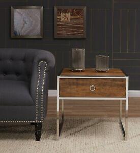 Dettagli su ELM legno legname fine letto Side Table industriale Chrome  rustico soggiorno moderno- mostra il titolo originale