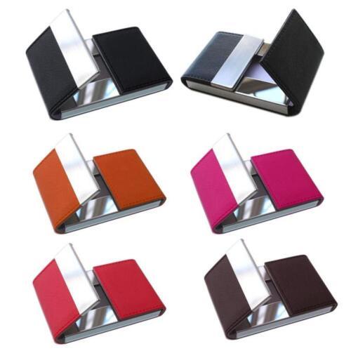 Mens Leather Aluminum Silver Money Clip Slim Wallets Black ID Credit Card Holder