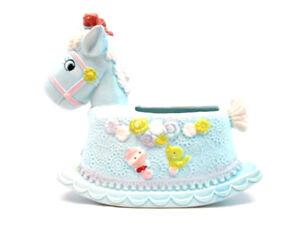 Vintage Napco Nursery Planter Rocking Horse Blue Ceramic