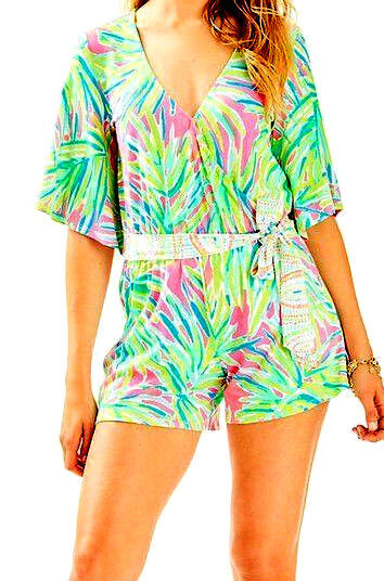 NWT Lilly Pulitzer Madilyn Romper Royal Lime Engineered Size SMALL 45% OFF LIST