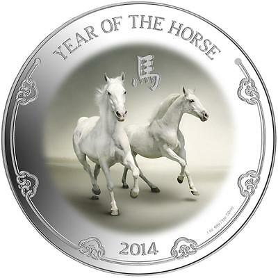 Niue 2014 $2 Lunar Year of the Horse - Pure White Horses 1 Oz Silver Proof Coin