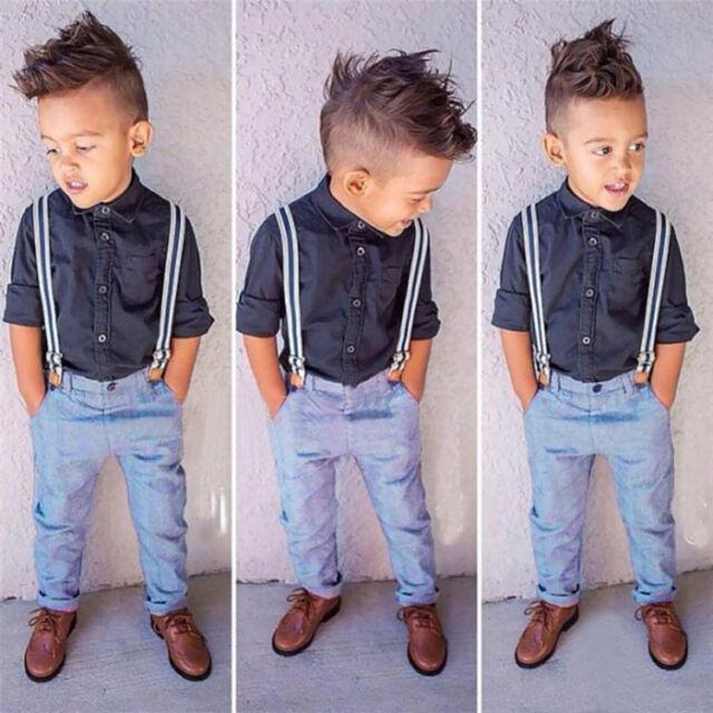 2PCS NEW Baby Handsome boy gentleman shirt + straps trousers Sets Fit 12M-6T