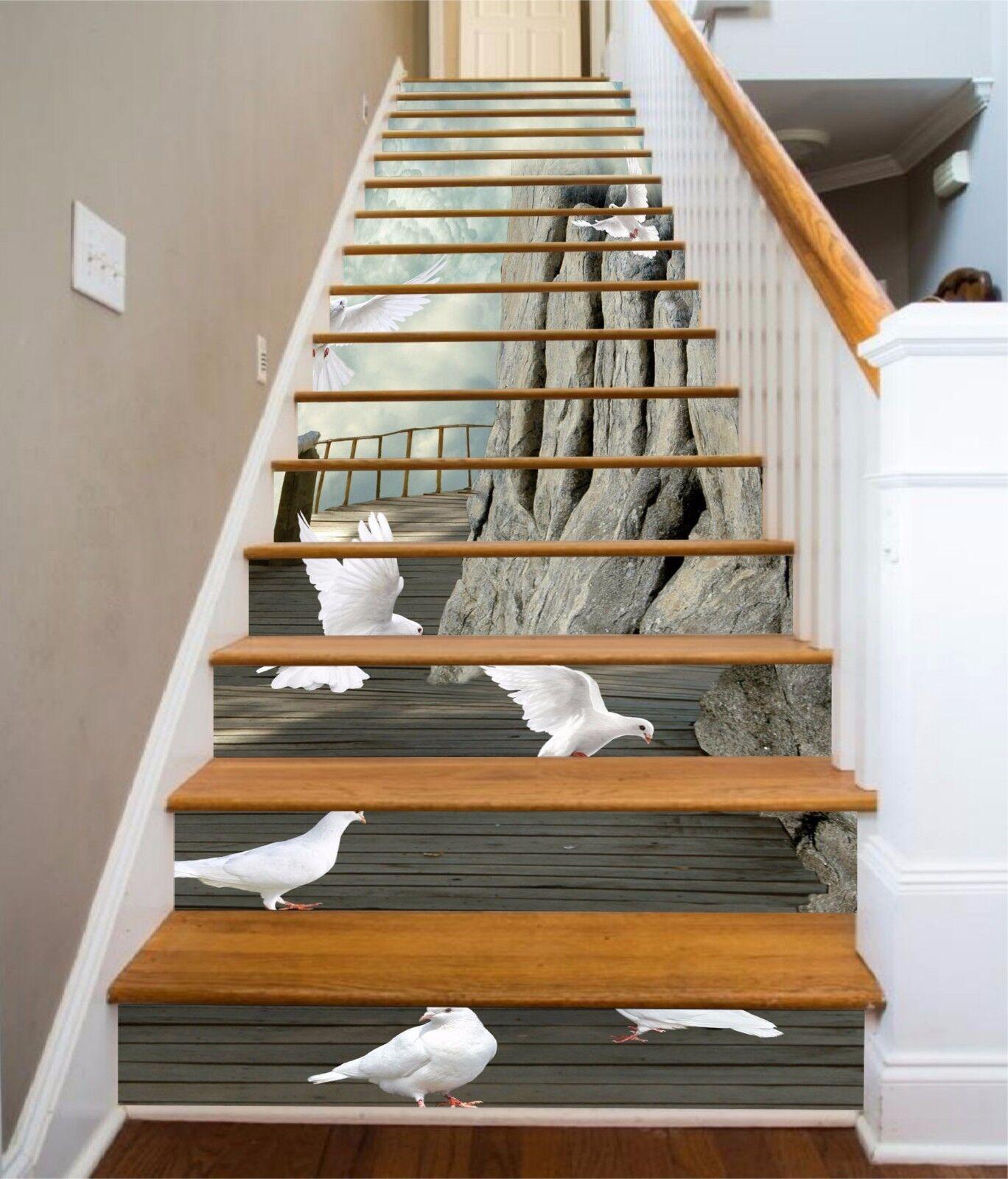 3D Dove Bird road 7 Stair Risers Decoration Photo Mural Vinyl Decal Wallpaper UK