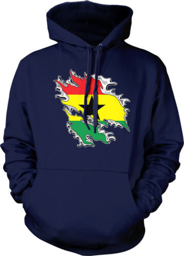 Ghanaian Pride Hoodie Pullover Shredded Ghana Rip Through Flag