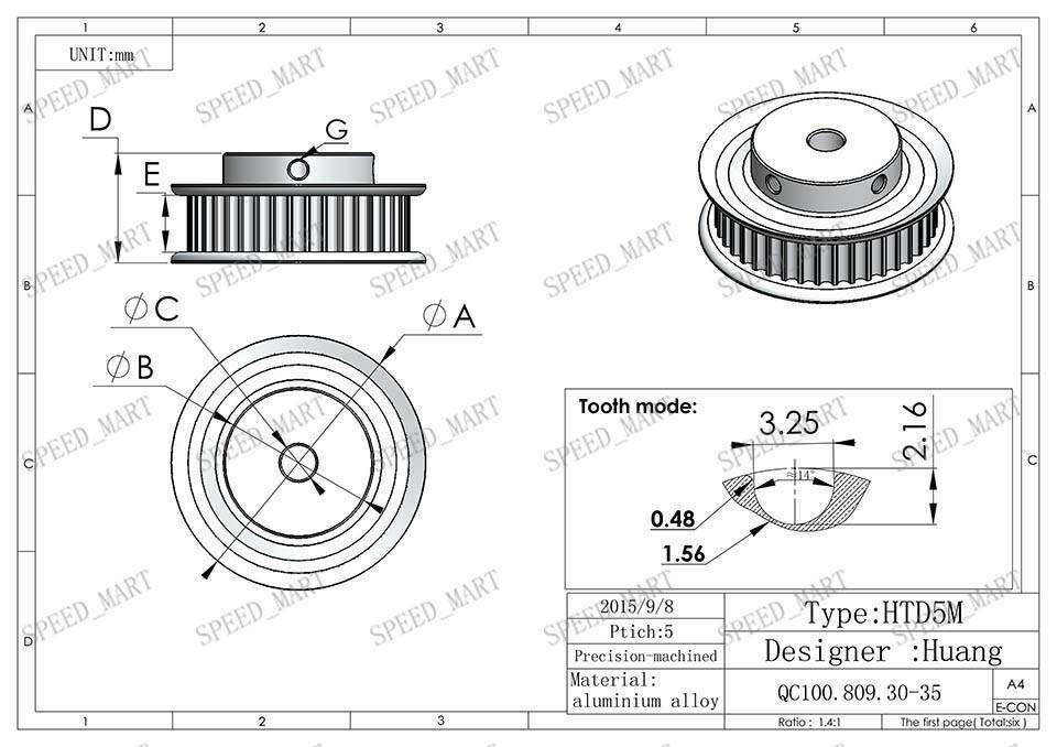5m htd5m aluminum timing belt pulley 60 teeth 8mm bore