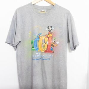 Vintage-Walt-Disney-World-T-Shirt-2001-Graphic-Tee-Micky-Donald-Pluto-Grey-M