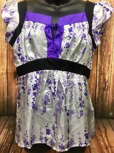 369e9f57f9b227 Kenar Women s Washable Silk Empire Waist Blouse Purple Floral Tie ...