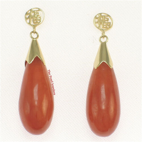 14k Solid Yellow Gold GOOD FORTUNE Dangle Raindrop Red Jade Stud Earrings TPJ