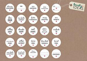 24 Geschenkaufkleber 40mm Weiss Sticker Spruche Grusse Selbstgemacht