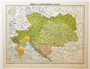 HISTORICAL MAP EMPIRE OF AUSTRIA HUNGARY 18151914 MORAVIA BOSNIA