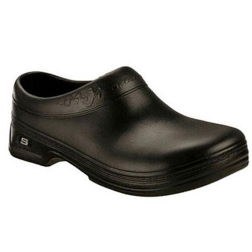 Women Skechers Work OSWALD CLARA 76381 Black Slip-Resistant Slip-On Clog Shoes
