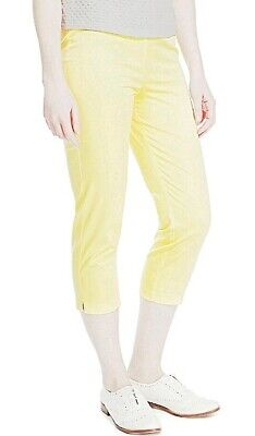 M/&S Collection Pale YELLOW Cropped Tapered Leg Cotton Trousers ~UK 12 Reg~BNWT