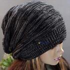 Unisex Women Men Knit Baggy Beanie Beret Winter Warm Oversized Ski Cap Hat Black