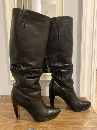 Joan & David Black Leather Slouchy Heel Knee High