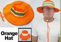 Booney Hat Orange Silver Reflective Tape Gear Safety Sun Shade Fishing L/xl Bike