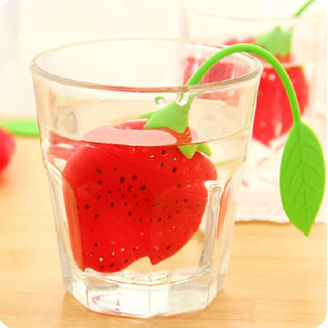 Cute Silicon Strawberry Design Leaf Strainer Herbal Spice Infuser Tea Filter New
