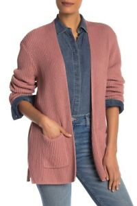 Madewell-Cardigan-Sweater-XS-Pink-Cotton-Dried-Petal-Ribbed-Open-Women-s-NWT