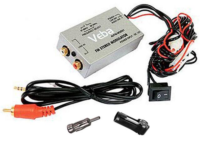 Car AUX input Veba Wired FM Modulator AVFM-MOD01 Samsung iPod iPhone ISO DIN MP3
