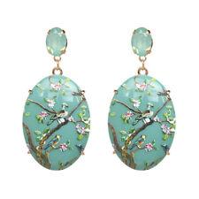 Boucles d'oreilles Gros Ethnique Ovale Bleu Vert Pittoresque Jade Imitation AA28
