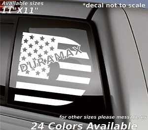 Duramax american flag  Custom decal sticker Turbo Diesel back window Chevy